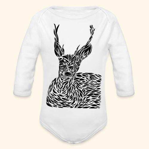 deer black and white - Vauvan pitkähihainen luomu-body