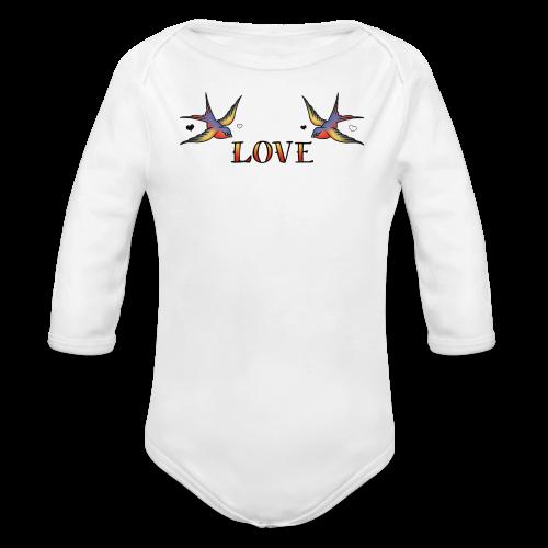 A Pair Of Swallows In Love - Organic Longsleeve Baby Bodysuit