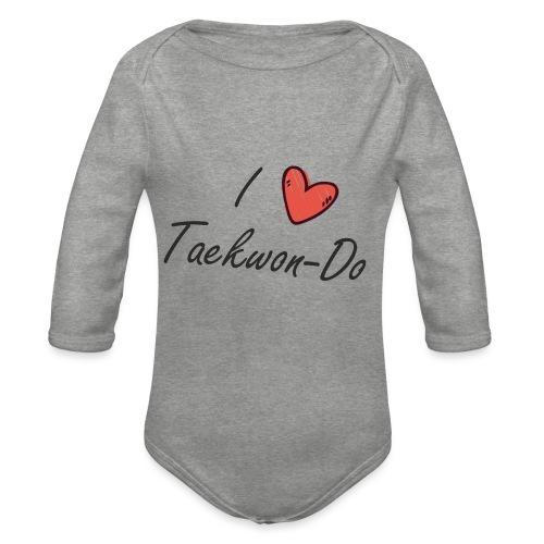 I love taekwondo letras negras - Body orgánico de manga larga para bebé