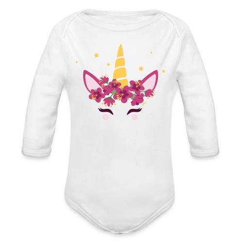 Einhorn Babybauch schwanger Sterne - Baby Bio-Langarm-Body