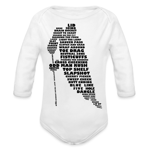 Language of Hockey (Black) - Organic Longsleeve Baby Bodysuit