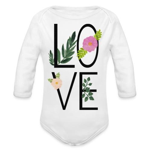 Love Sign with flowers - Organic Longsleeve Baby Bodysuit