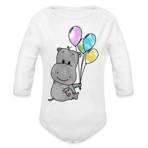 Hippo - Baby Bio-Langarm-Body