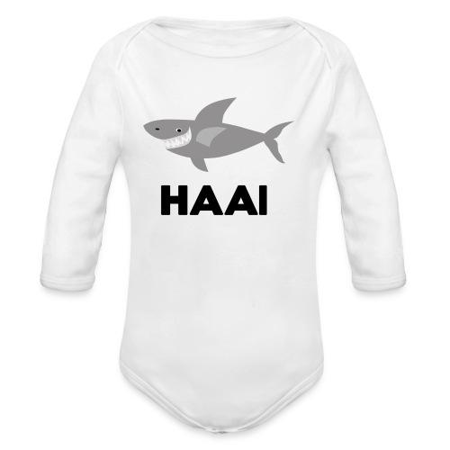 haai hallo hoi - Baby bio-rompertje met lange mouwen
