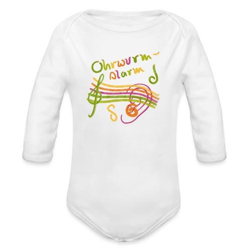 Ohrwurm Alarm Musiknoten und Würmer - Baby Bio-Langarm-Body