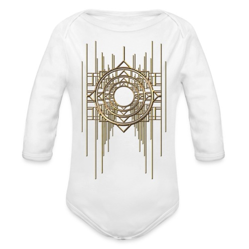 Abstract Geometry Gold Metal Art Deco Vintage - Organic Longsleeve Baby Bodysuit