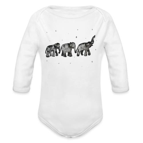 Akwarelowe słoniki - Ekologiczne body niemowlęce z długim rękawem