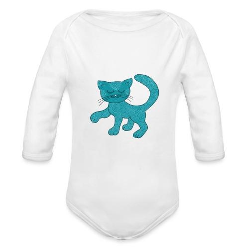 Spirituell anmutende Katze in Türkis mit Muster - Baby Bio-Langarm-Body