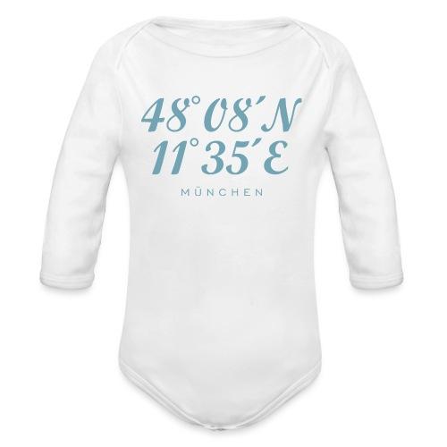Münchener Koordinaten München (Hellblau) - Baby Bio-Langarm-Body