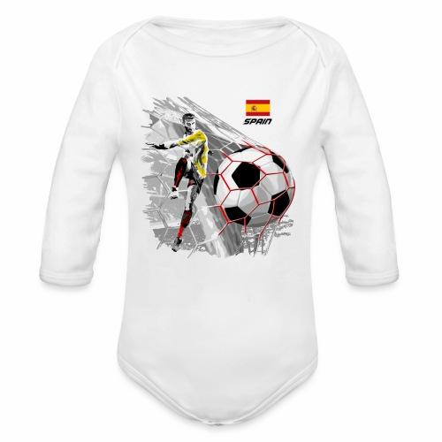 FP22F 02 SPAIN FOOTBALL - Vauvan pitkähihainen luomu-body