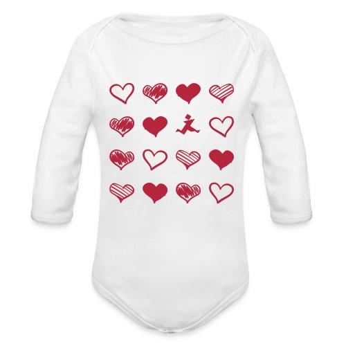 15 Herzen und Tangram - Baby Bio-Langarm-Body