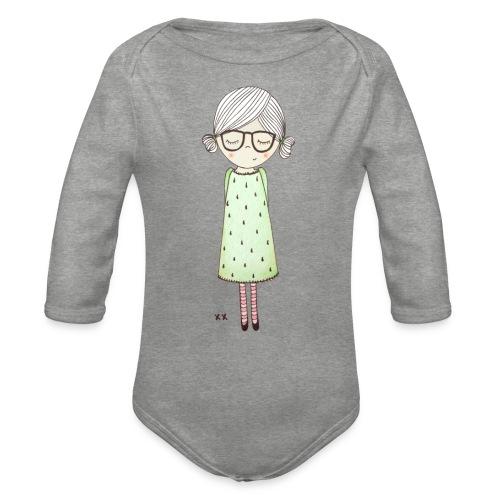 meisje met bril - Baby bio-rompertje met lange mouwen