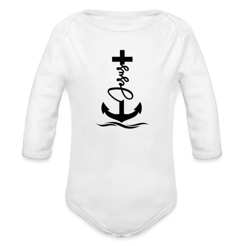 Jesus-Anker black Special - Baby Bio-Langarm-Body