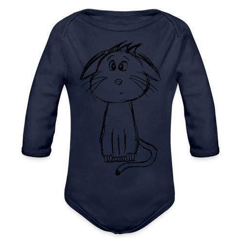 Kissa Kissanpentu musta scribblesirii - Vauvan pitkähihainen luomu-body