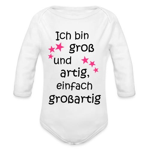 Ich bin gross und artig = großartig pink - Baby Bio-Langarm-Body