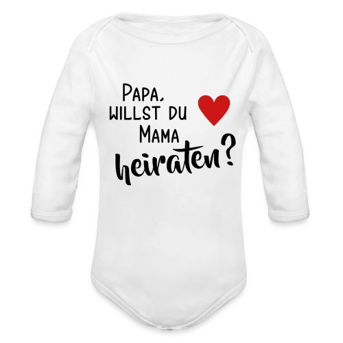 Papa Mama heiraten Baby Body Antrag Hochzeit Herz - Baby Bio-Langarm-Body