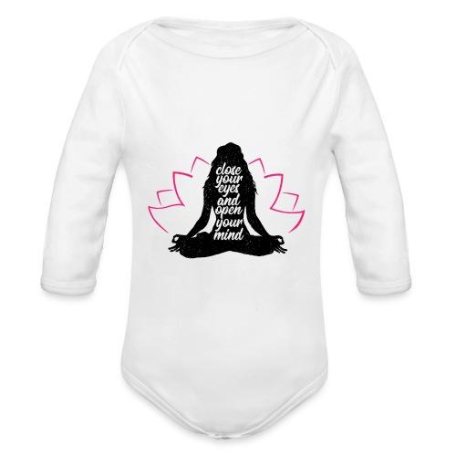 chiudi gli occhi yoga pace amore sport arte - Body ecologico per neonato a manica lunga