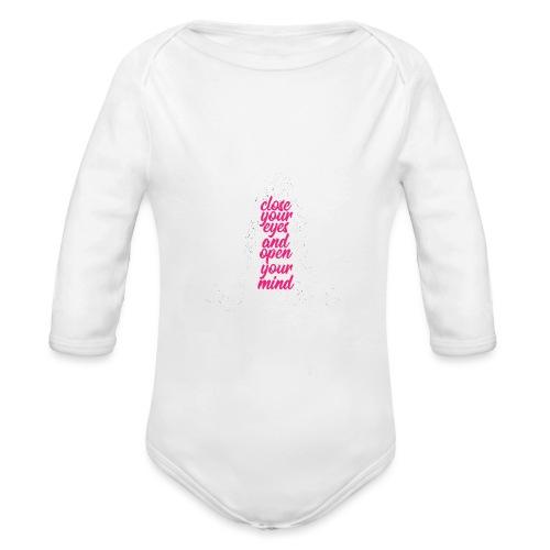CLOSE YOUR EYES rosa YOGA PEACE LOVE SPORT ART - Body ecologico per neonato a manica lunga