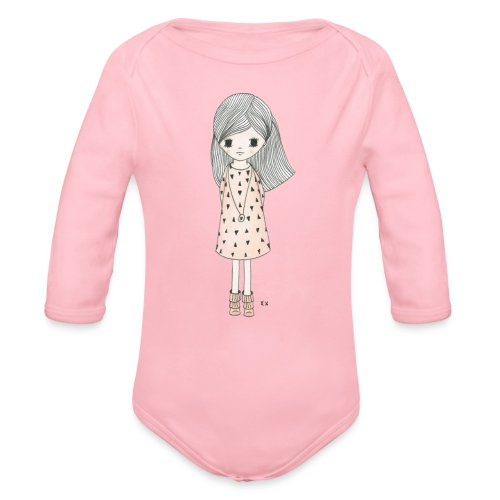 meisje met roze jurk - Baby bio-rompertje met lange mouwen