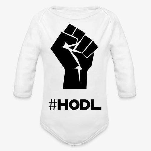 HODL-fist-b - Organic Longsleeve Baby Bodysuit