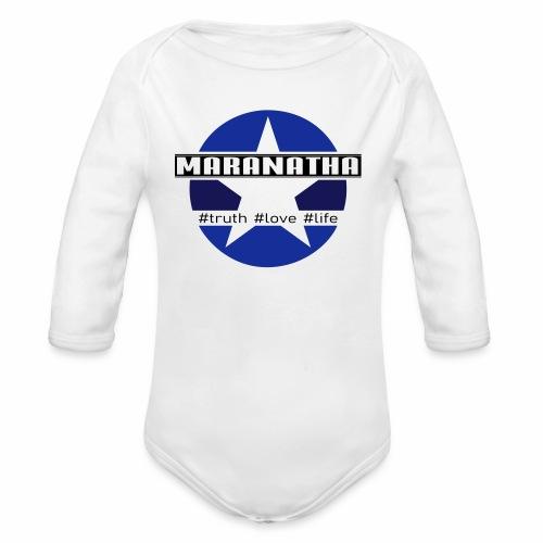 maranatha blau-braun - Baby Bio-Langarm-Body