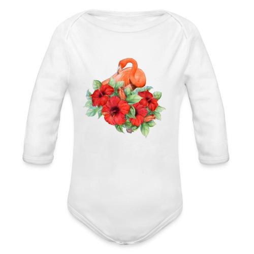 Fenicottero con ibisco - Body ecologico per neonato a manica lunga