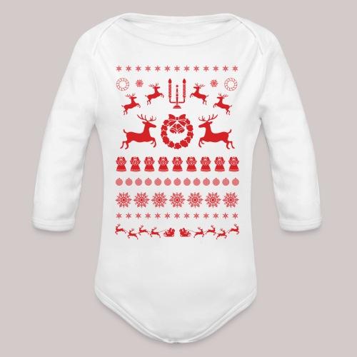 Rode kerstmis - Baby bio-rompertje met lange mouwen