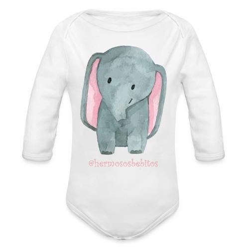 hermosos bebitos elefantito - Body orgánico de manga larga para bebé