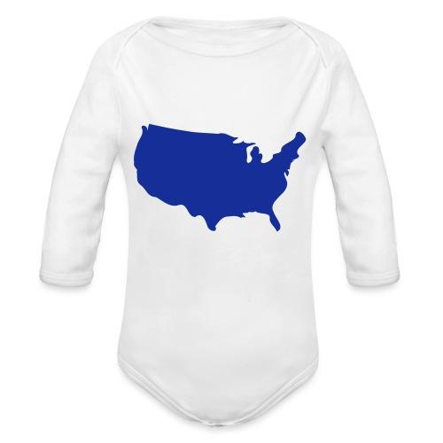 usa map - Organic Longsleeve Baby Bodysuit
