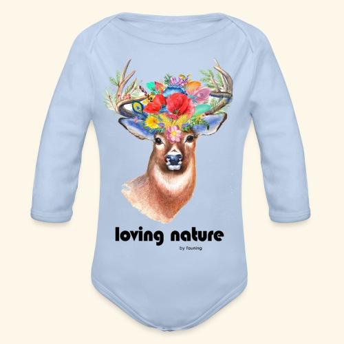 Ciervo con flores - Body orgánico de manga larga para bebé