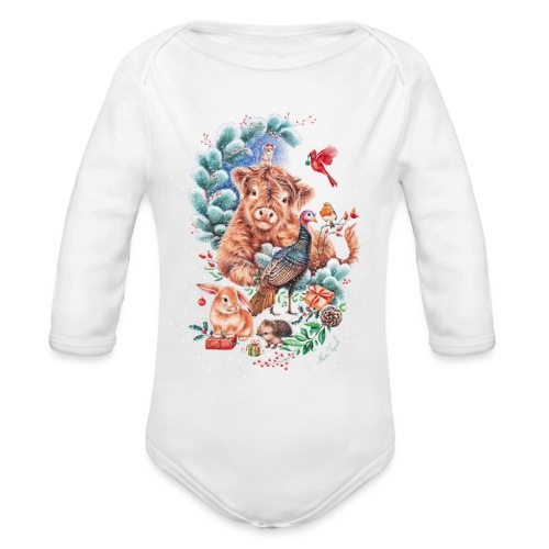 Vegan Christmas with cow and turkey. - Organic Longsleeve Baby Bodysuit