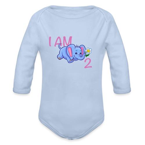 I am 2 - elephant pink - Organic Longsleeve Baby Bodysuit