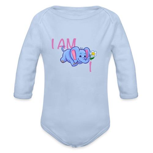 I am 1 - elephant pink - Organic Longsleeve Baby Bodysuit