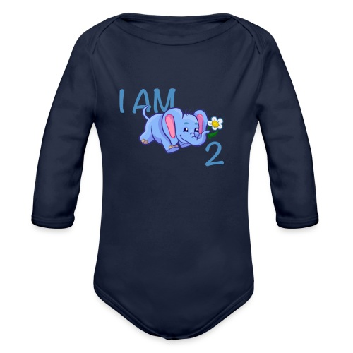 I am 2 - elephant blue - Organic Longsleeve Baby Bodysuit