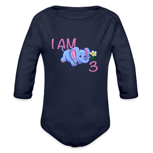 I am 3 - elephant pink - Organic Longsleeve Baby Bodysuit