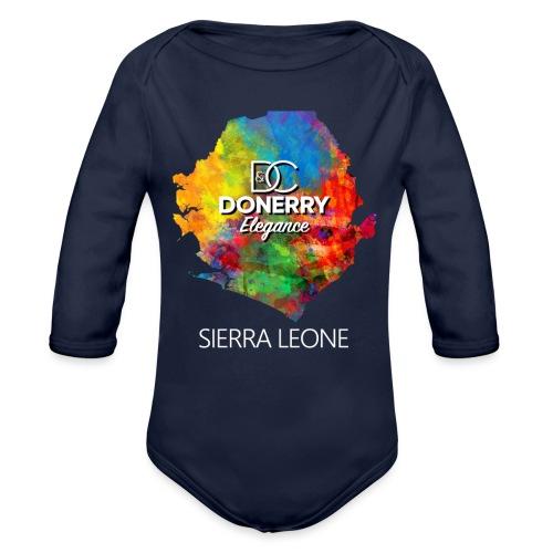 Sierra Leone Colourful Map Dark - Organic Longsleeve Baby Bodysuit