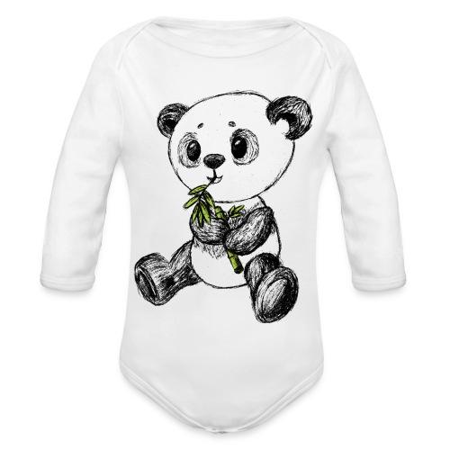 Panda bjørn farvet scribblesirii - Langærmet babybody, økologisk bomuld