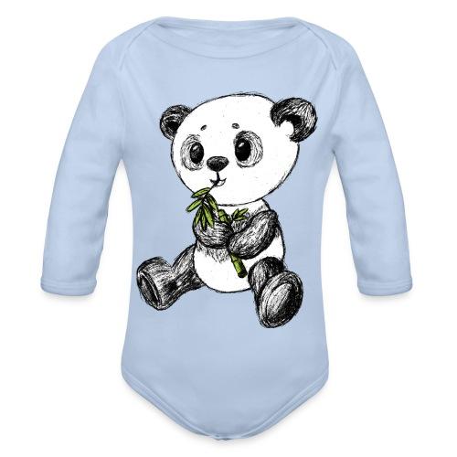 Panda Karhu värillinen scribblesirii - Vauvan pitkähihainen luomu-body