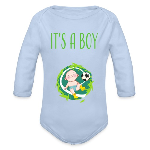 It's a Boy Fußball. Witzige Umstandsmode T-Shirt - Baby Bio-Langarm-Body
