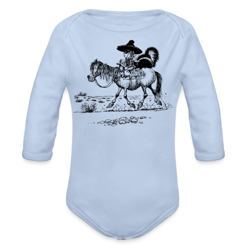Thelwell 'Cowboy with a skunk' - Organic Longsleeve Baby Bodysuit