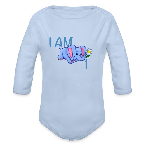 I am 1 - elephant blue - Organic Longsleeve Baby Bodysuit