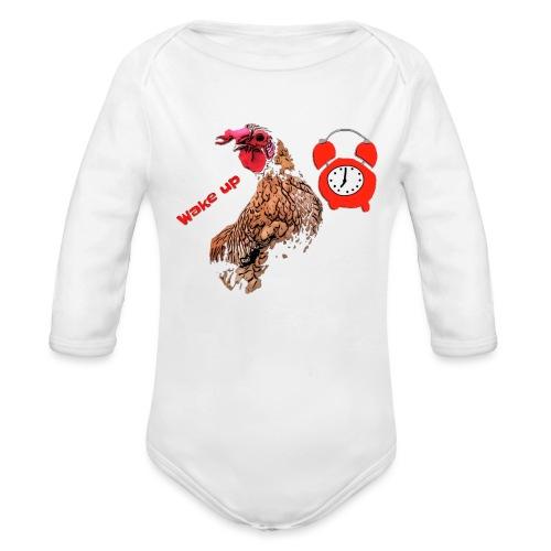 Wake up, the cock crows - Organic Longsleeve Baby Bodysuit
