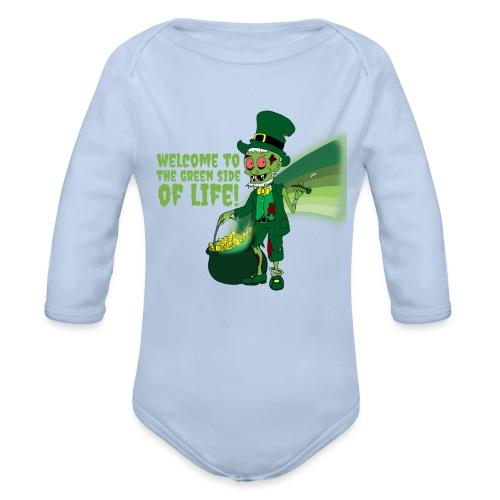 green side - Organic Longsleeve Baby Bodysuit