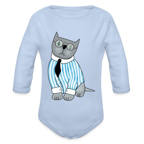 Cat with glasses - Organic Longsleeve Baby Bodysuit