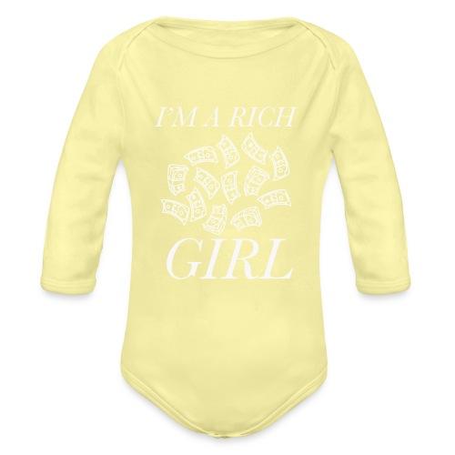 powerful I'm a rich girl T-shirt - Body ecologico per neonato a manica lunga