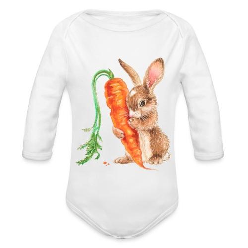 konijntje met wortel - Organic Longsleeve Baby Bodysuit