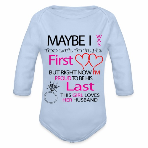 I love my husband - gift idea - Organic Longsleeve Baby Bodysuit