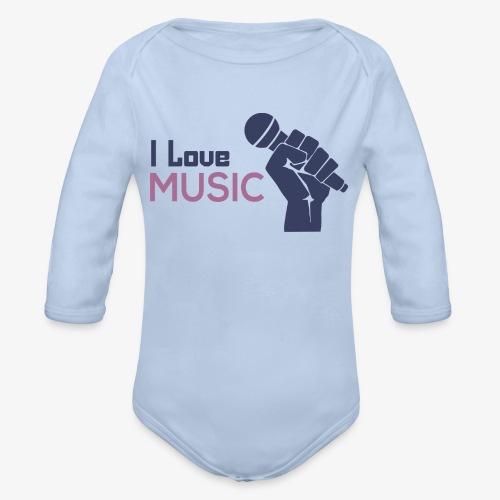 Amo la música - Body orgánico de manga larga para bebé