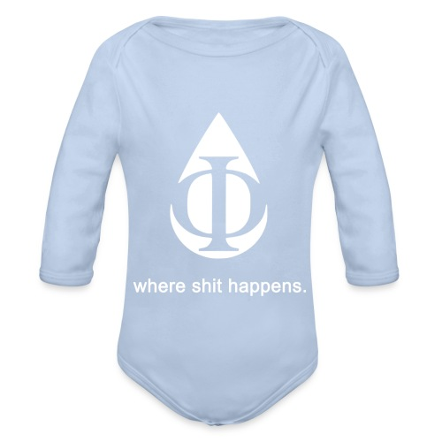 AquaPhi Logo (White) - Organic Longsleeve Baby Bodysuit