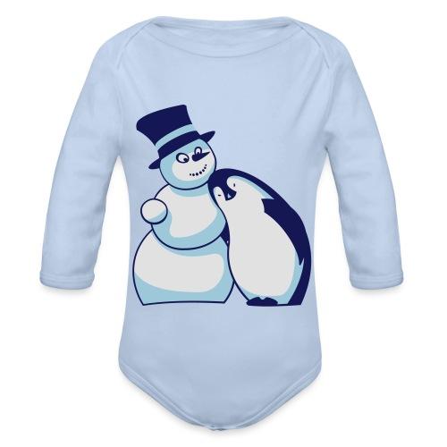 Schneemann und Pinguin - Baby Bio-Langarm-Body